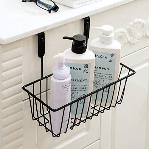 A cabinet organiser with shower products in it