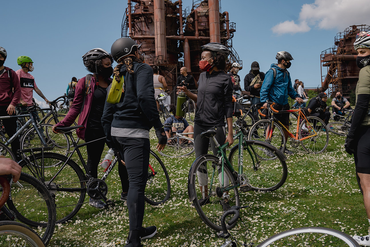 """Members of the NorthStar Cycling Club at Gas Works Park in Seattle, during the club's weekly """"Sunday Service"""" ride, on May 2"""