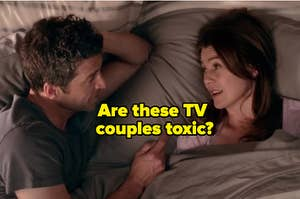 """A couple is in bed with a label that reads: """"Are these TV couples toxic?"""""""
