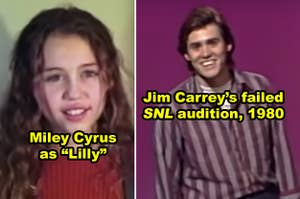 Side-by-side of a young Miley Cyrus and Jim Carrey