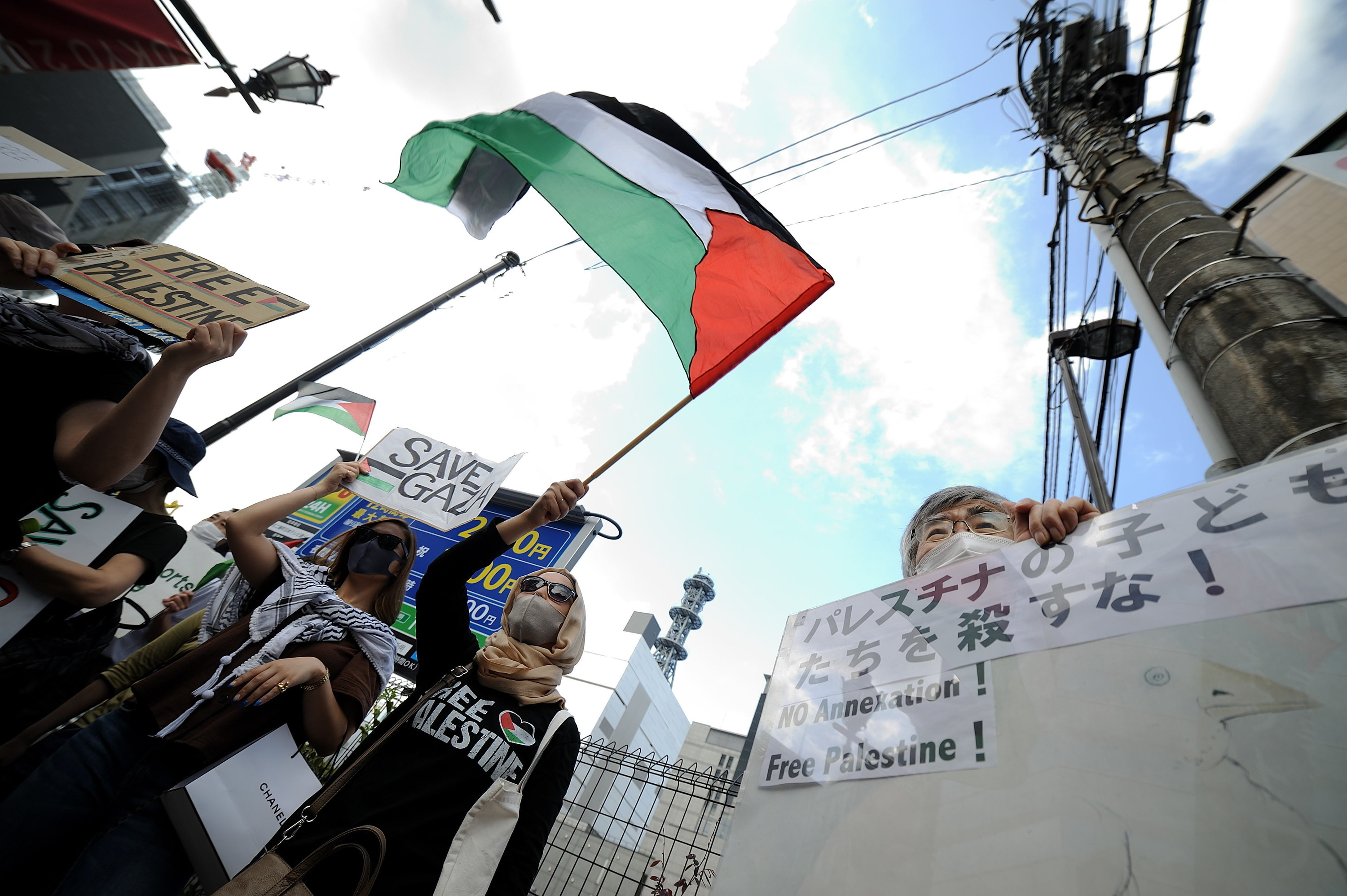 Protesters holding up signs and the Palestinian flag