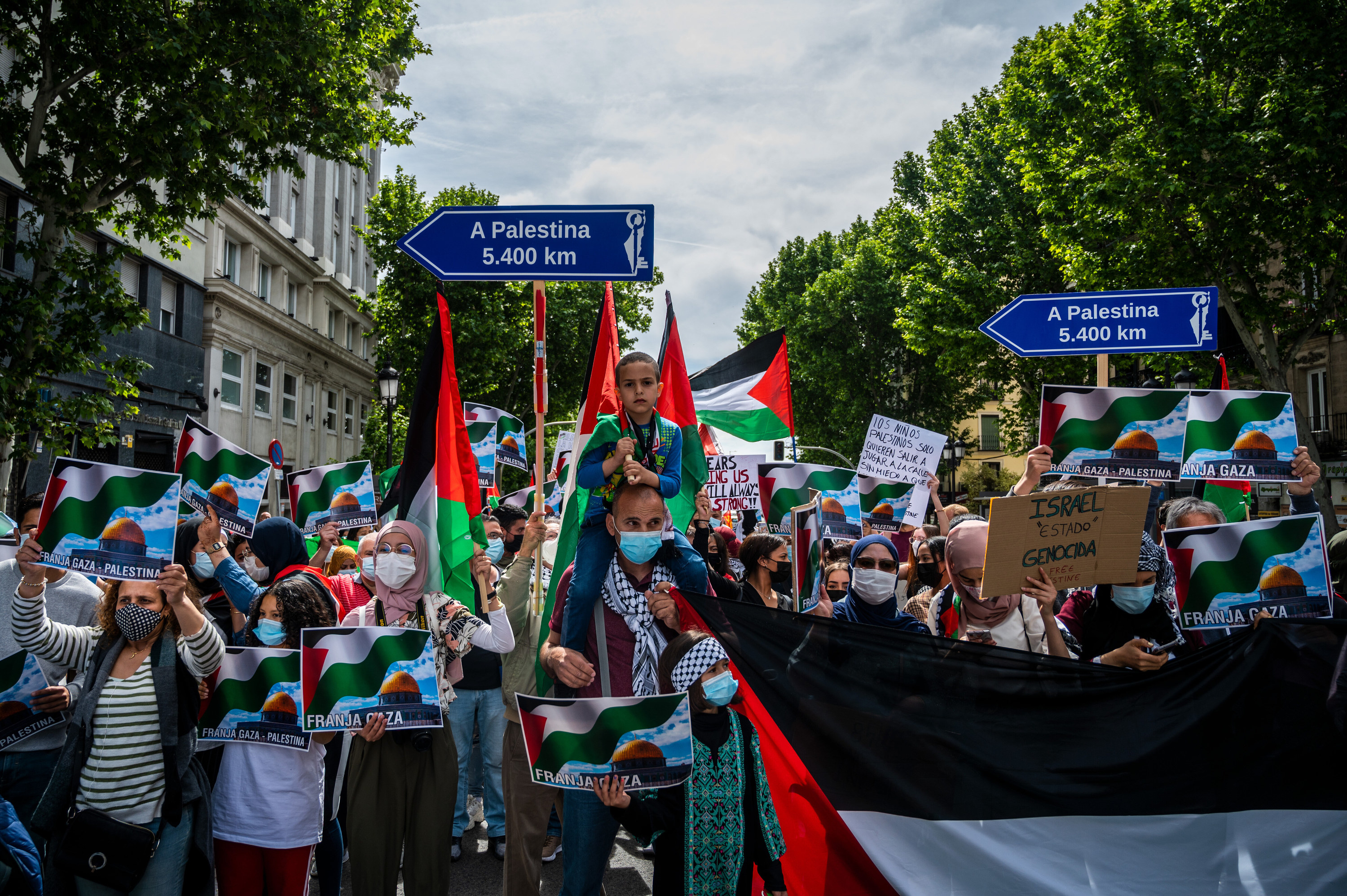 Protesters hold up signs and the Palestinian flag
