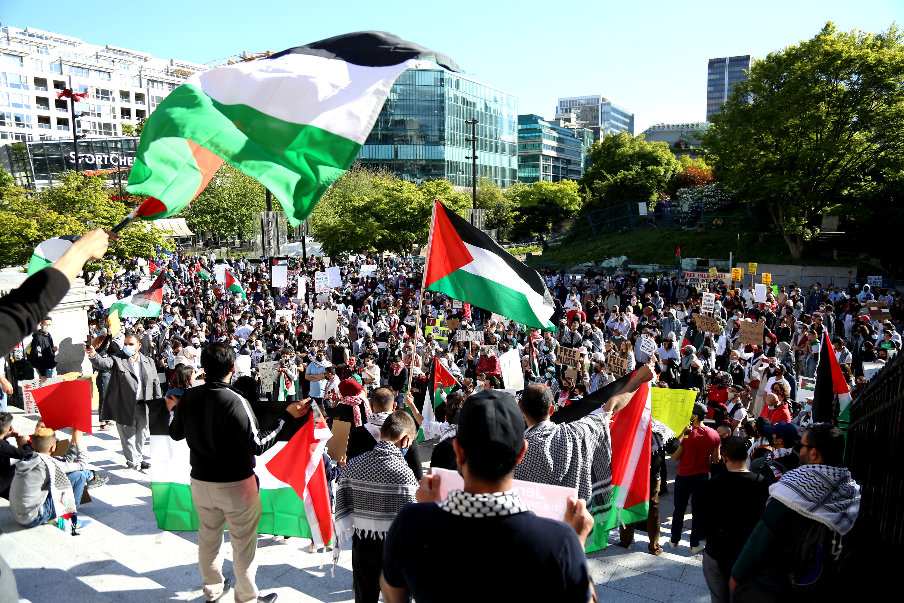 Protesters holding up Palestinian flags gather on steps