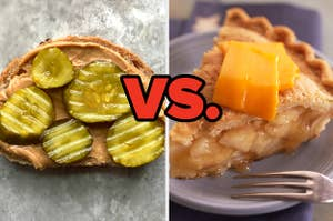 peanut butter and pickles verses cheese and apple pie