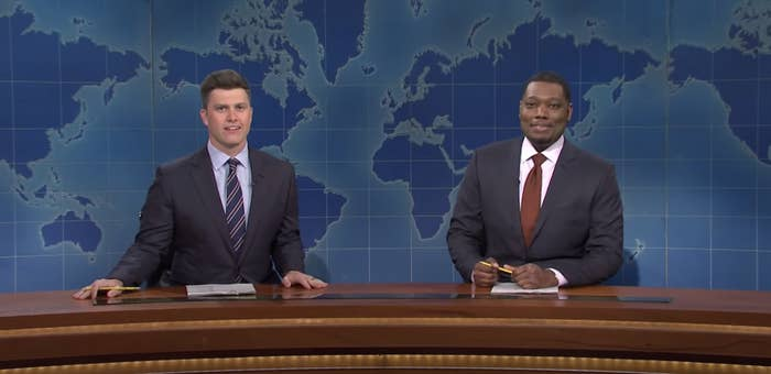 Colin Jost and Michael Che as anchors on SNL
