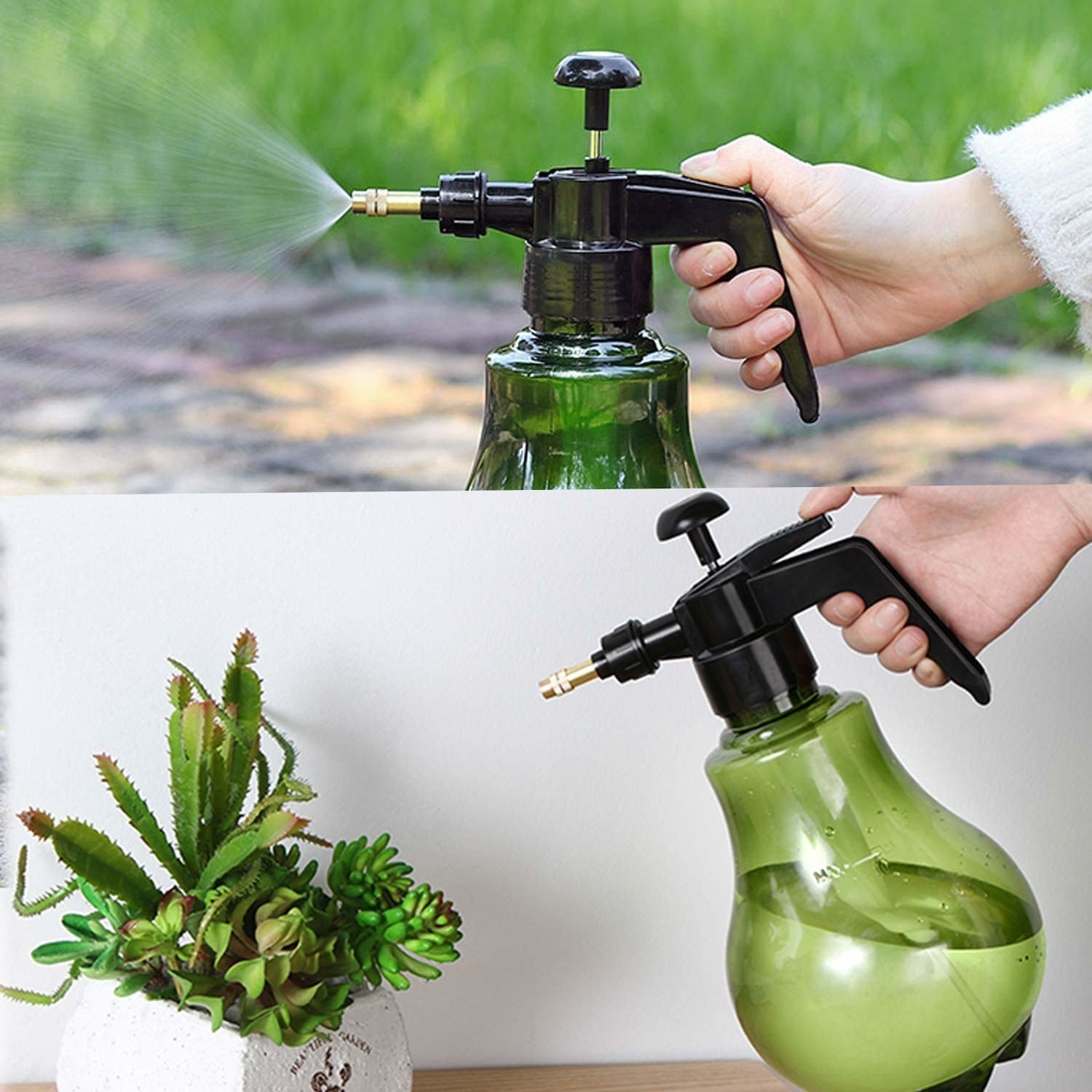 A green spray bottle with a black nozzle and a metallic tip