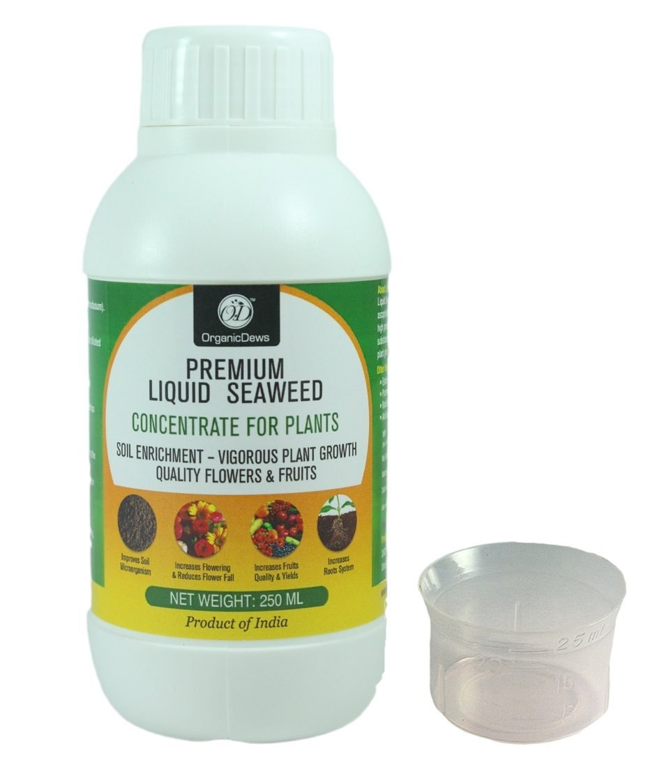 Premium Seaweed Liquid concentrate for plants with a small measuring cap
