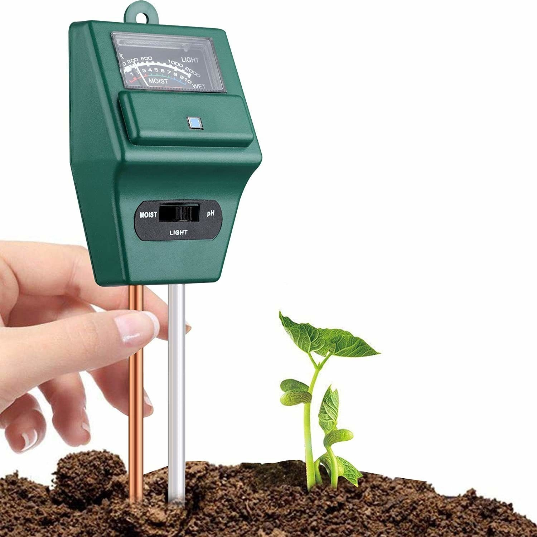 A 3-in-1 soil testing meter in soil