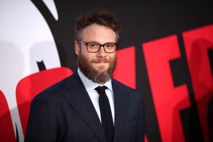 Seth Rogen in a suit and tie on the red carpet