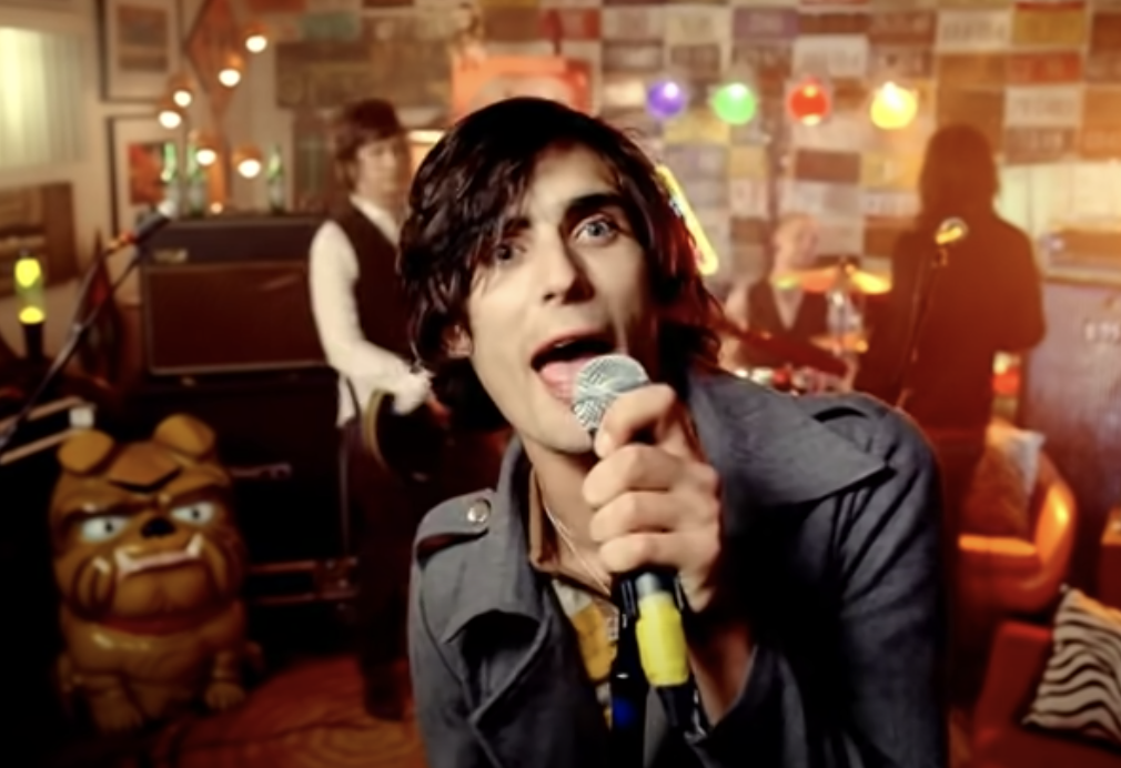 All-American Rejects playing in a basement