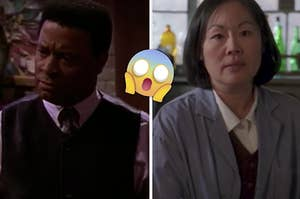 """Frank Mitchell is angered on the left with Mrs Kim of """"Gilmore Girls"""" on the right"""
