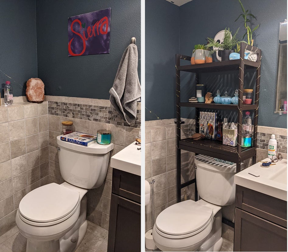 reviewer before and after photo of the over the brown toilet organizer