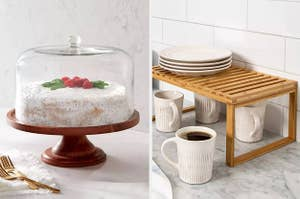 on left, glass cake stand. on right, wooden tray with white dishes and coffee cups