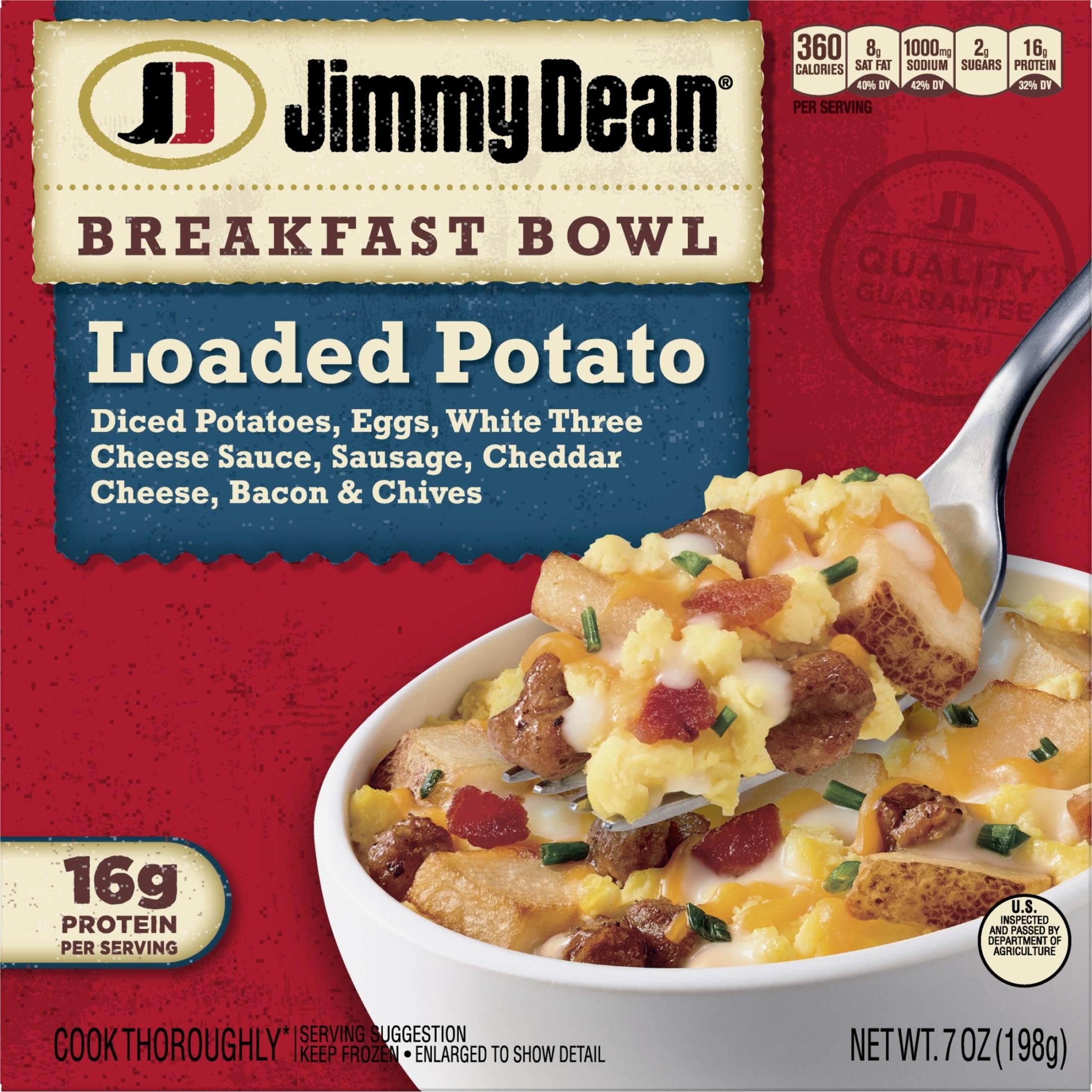 Jimmy Dean loaded potato bowl packaging showing potato bowl with potato, sausage & cheese