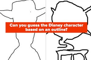 """An outline of Woody and Mike is shown with a label that reads: """"Can you guess the Disney character based on an outline?"""""""