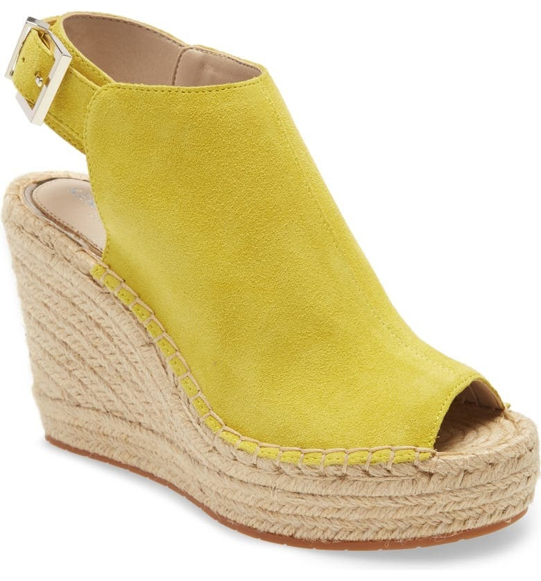 Kenneth Cole espadrille wedges in a yellow green suede