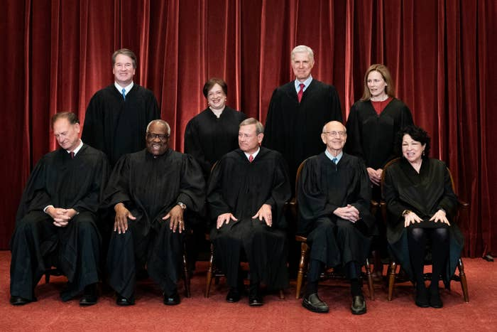 The nine Supreme Court justices pose for a group photo