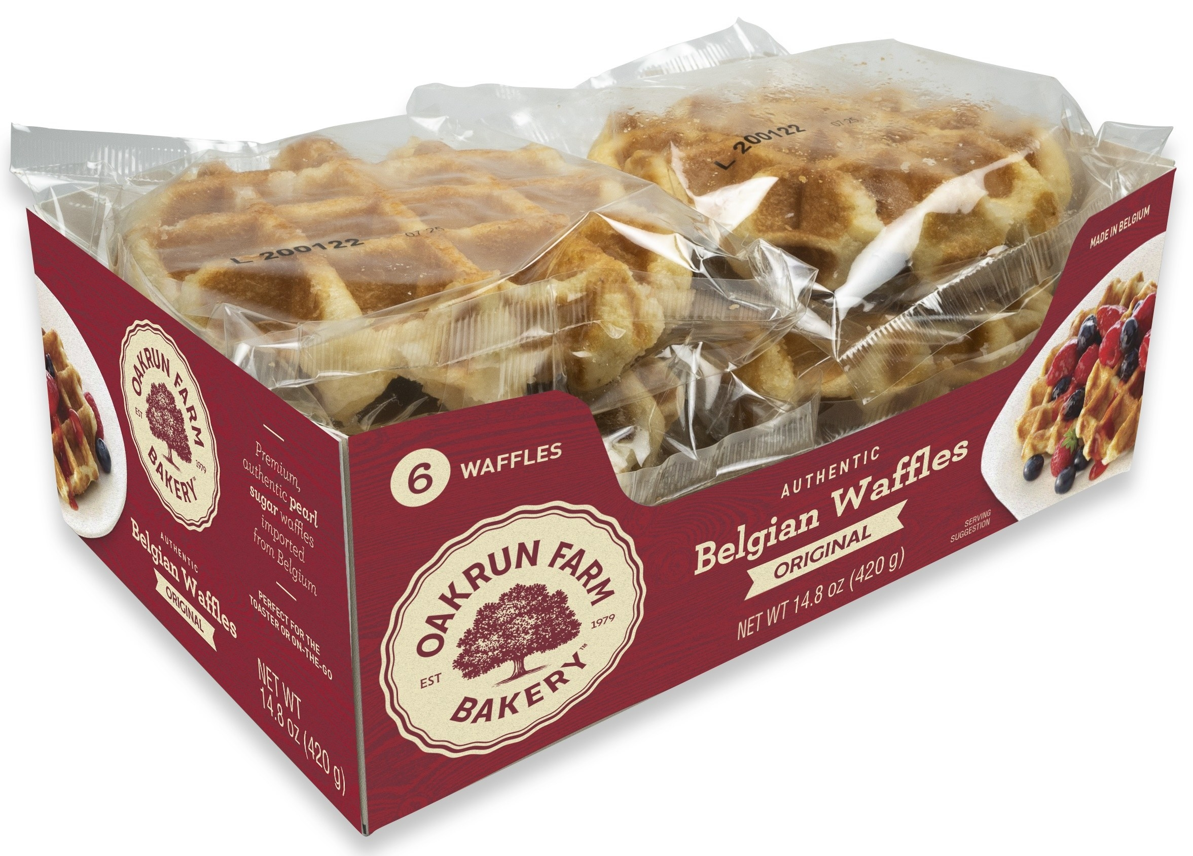 Pack of 6 individually wrapped Belgian waffles