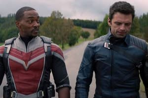"""Anthony Mackie as Sam Wilson and Sebastian Stan as Bucky Barnes in the show """"The Falcon and the Winter Solider."""""""