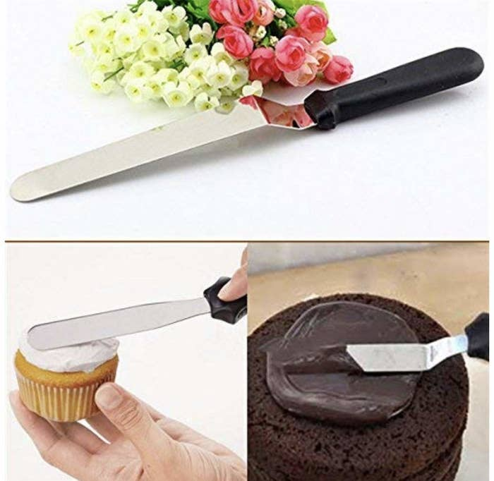 Images of the steel spatula at work, evening out cupcake frosting