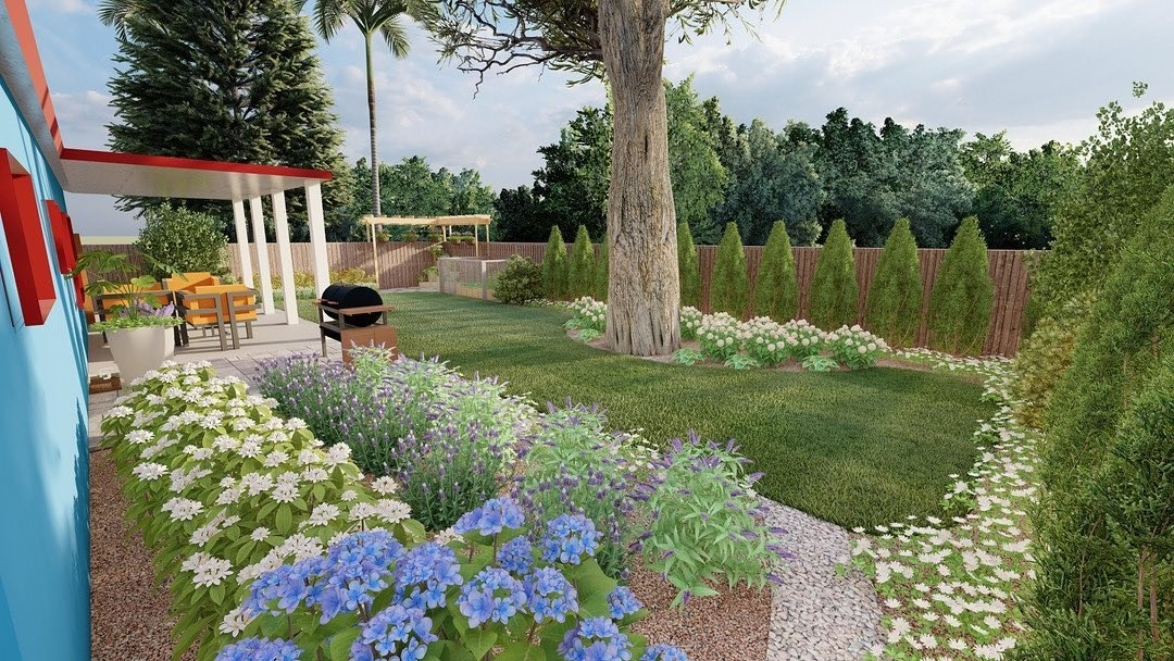 a rendering of a yard showing flowers, grass, a patio, etc