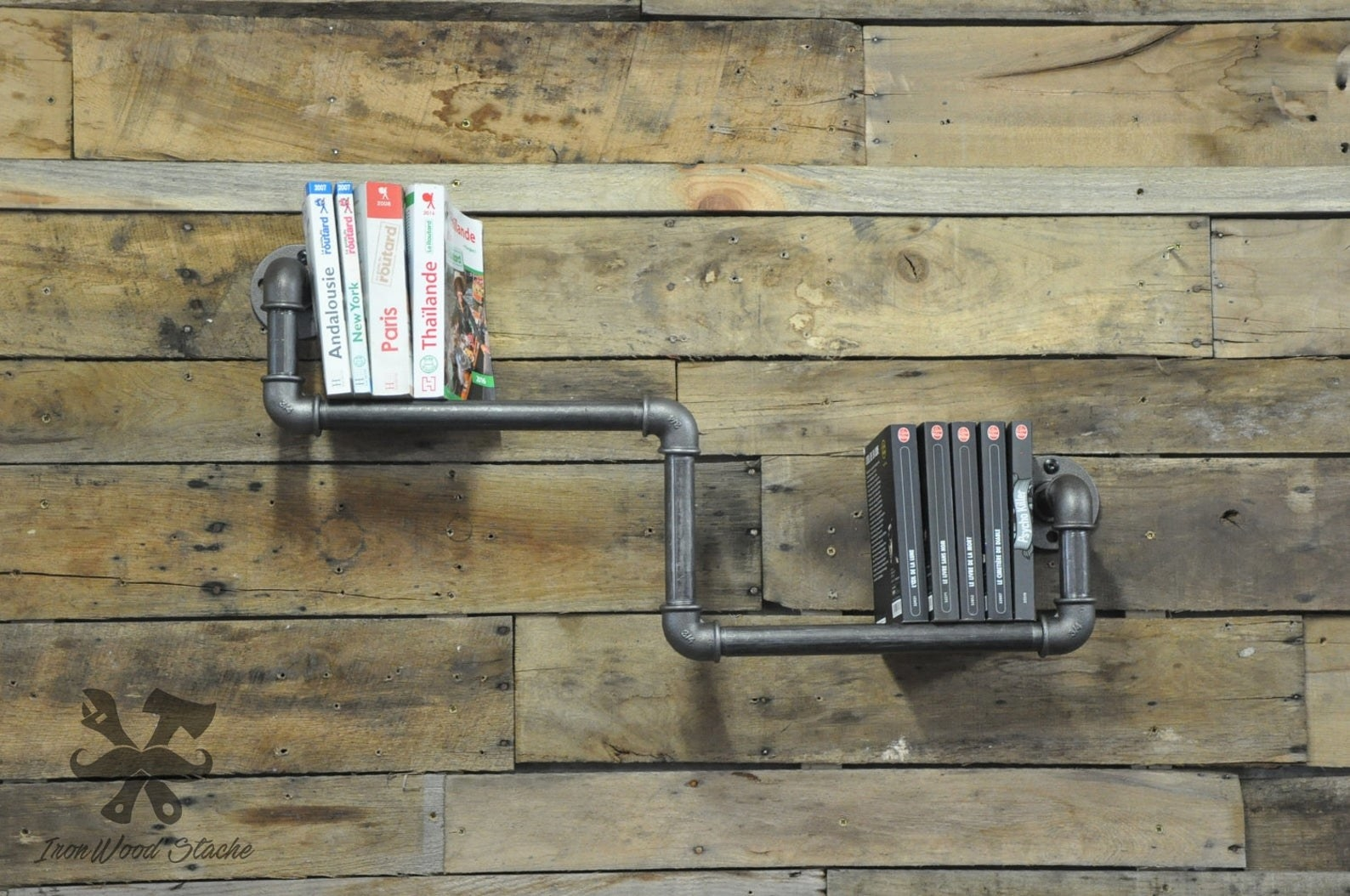 A plumbing styled book shelf