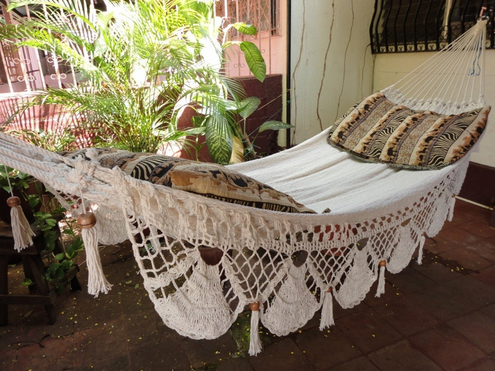 Hammock outside next to plant with pillows on top