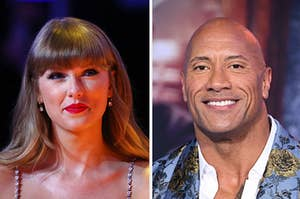 Taylor Swift is on the left smiling with Dwayne Johnson on the right looking straight ahead