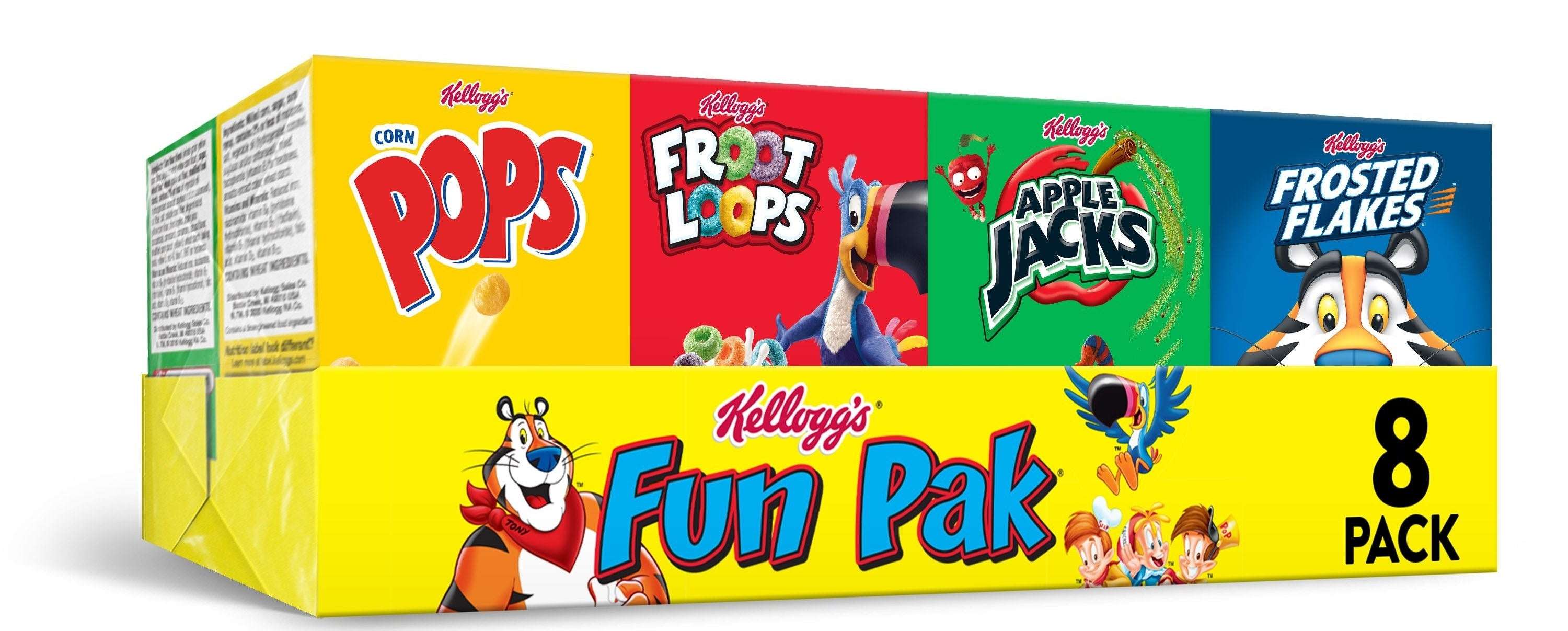 Kellogg's fun pak with corn pops, fruit loops, apple jacks and frosted flakes