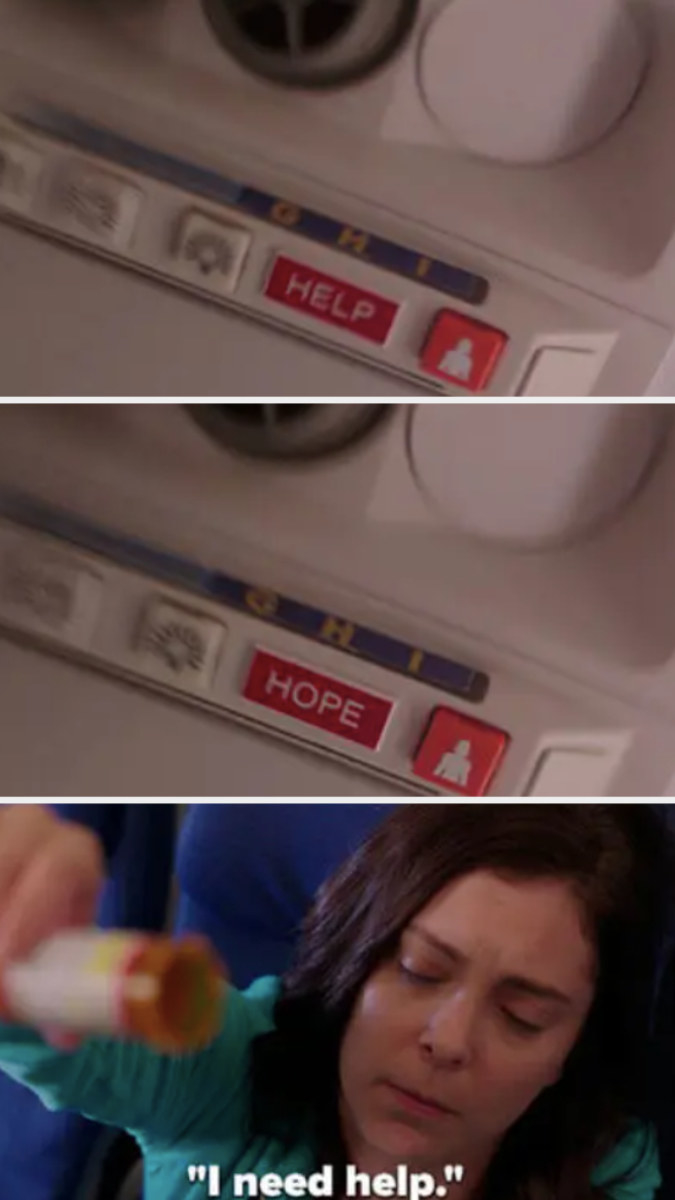 """Rebecca sees the """"help"""" sign flashing on the plane as she overdoses, """"I need help"""""""