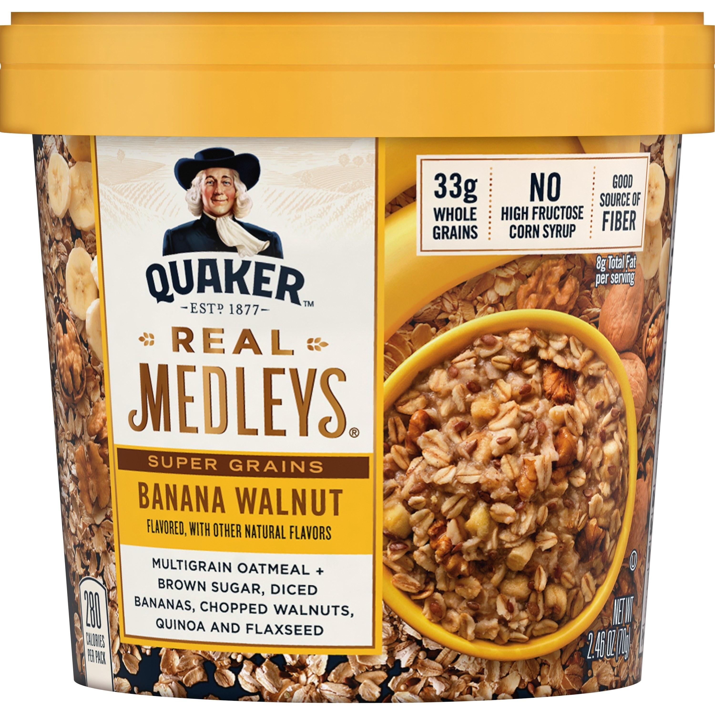 Individual Quaker Medleys with banana and walnut