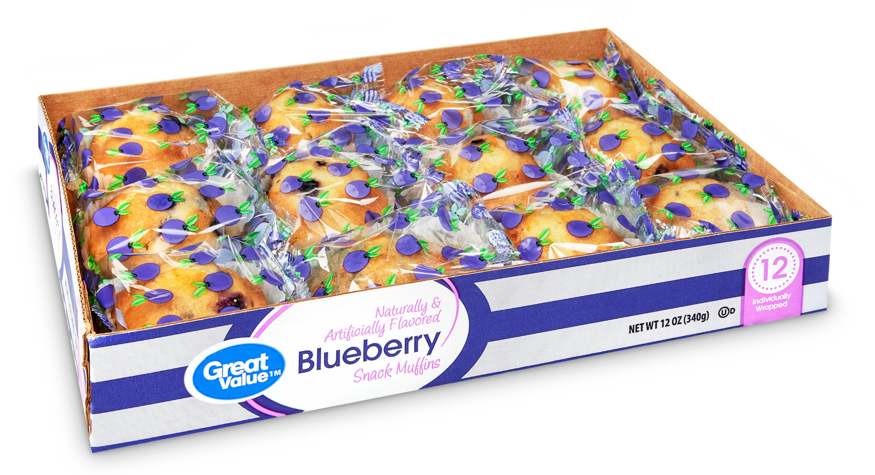 Greater Value 12 pack of individually wrapped muffins