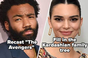 "Donald Glover with the words ""Recast 'The Avengers'"" and Kendall Jenner with the words ""Fill in the Kardashian family tree"""