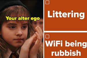 """Hermione Granger is on the left labeled, """"Your alter ego"""" with a checklist that reads: """"Littering"""" and """"WiFi being rubbish"""""""