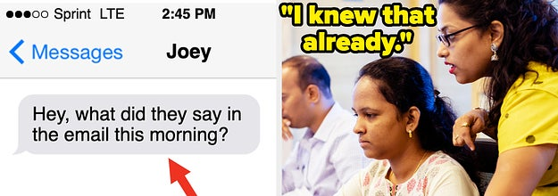 On the left is a guy texting asking what was said in the email this morning, and on the right is a girl saying