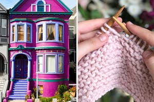 On the left, a bright townhouse, and on the right, someone knitting