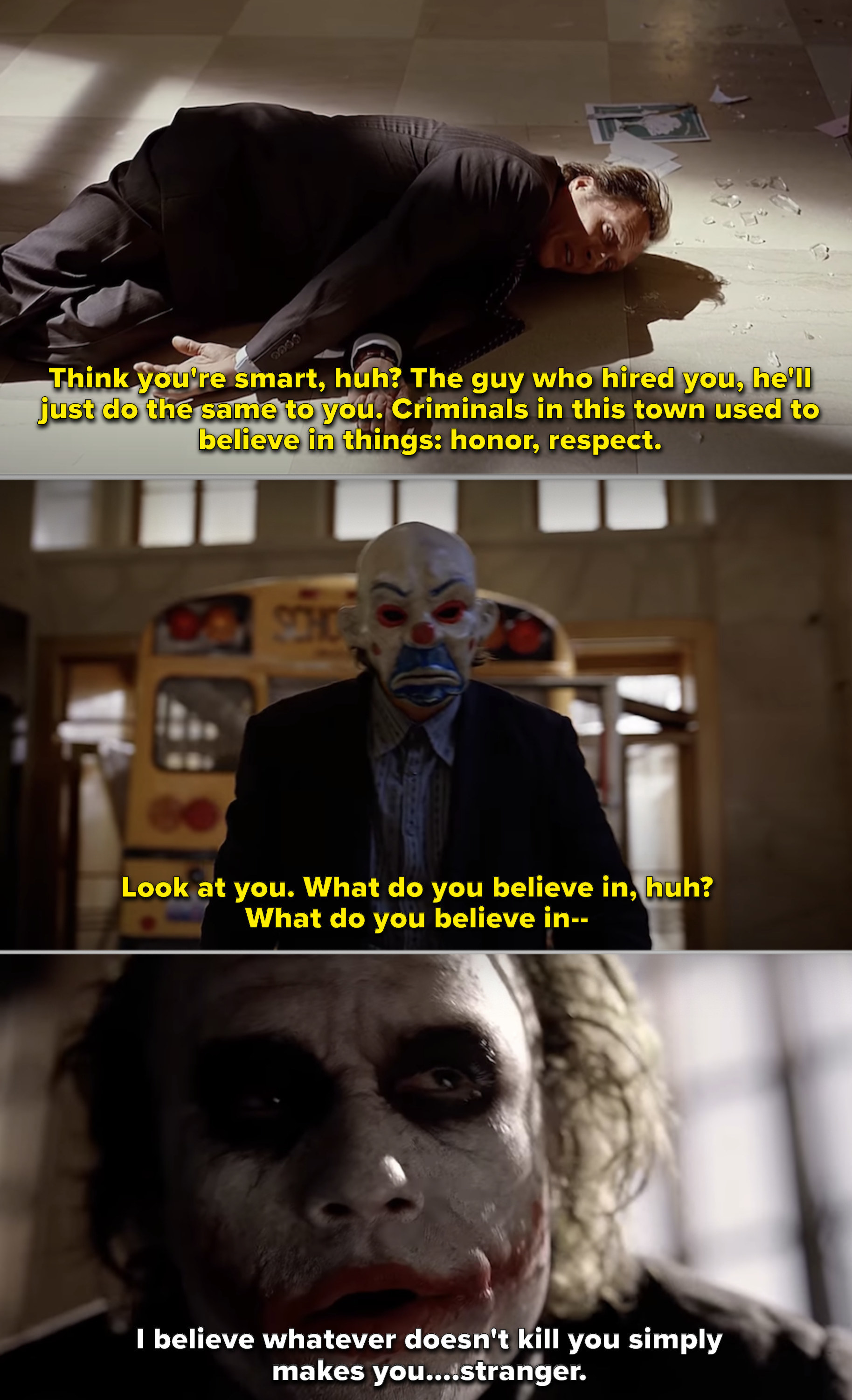The Joker during the bank robbery