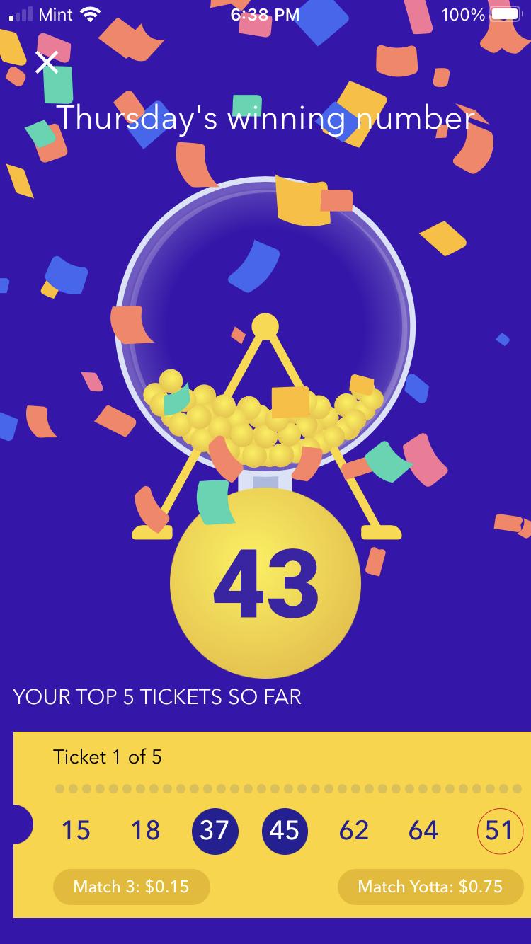 Lottery drawing in Yotta Savings app