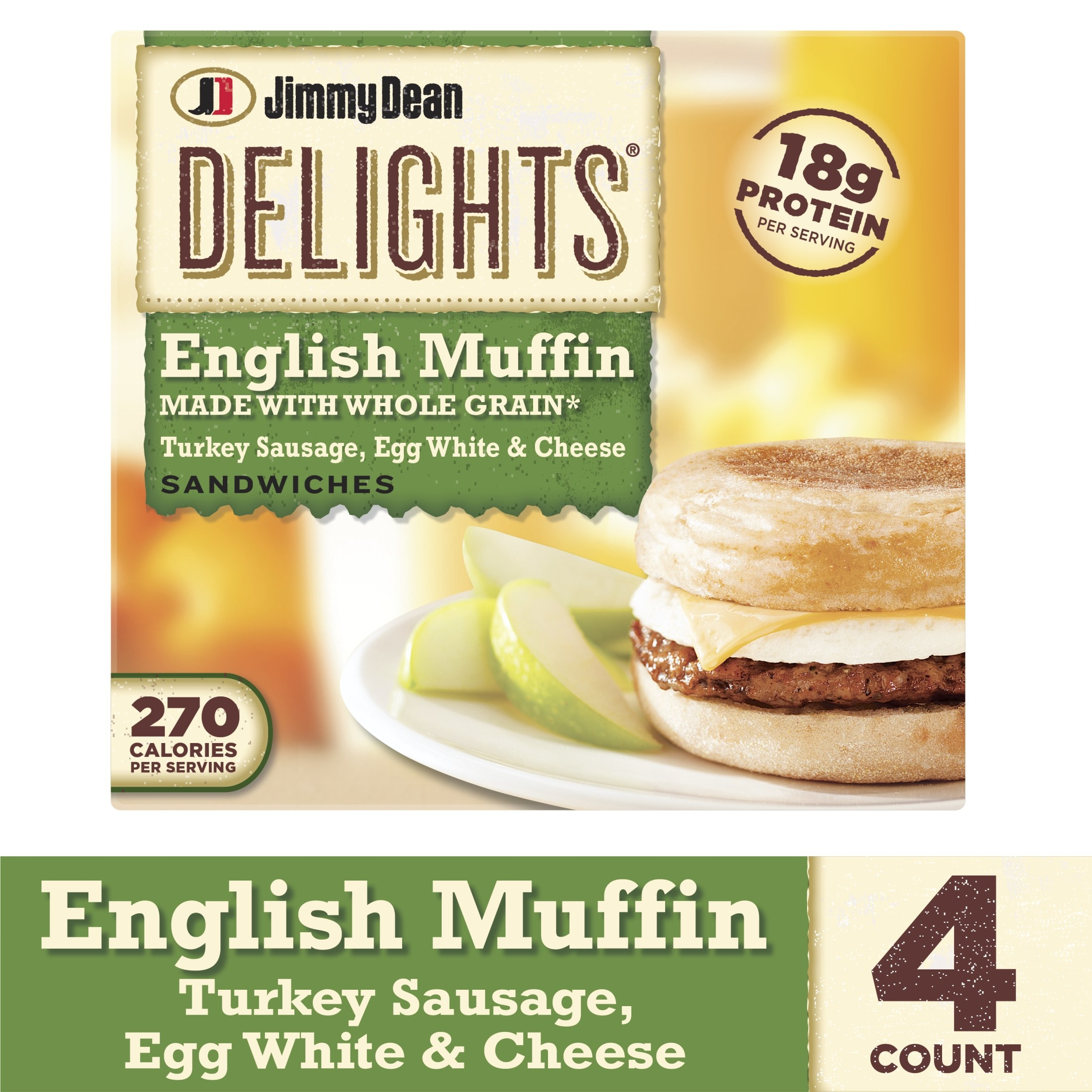 4 pack of Jimmy Dean Delights english muffin, turkey sausage, egg white & cheese breakfast sandwiches