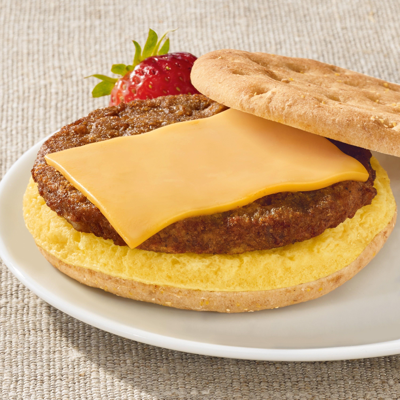 Morning Star vegetarian sausage, egg & cheese sandwich