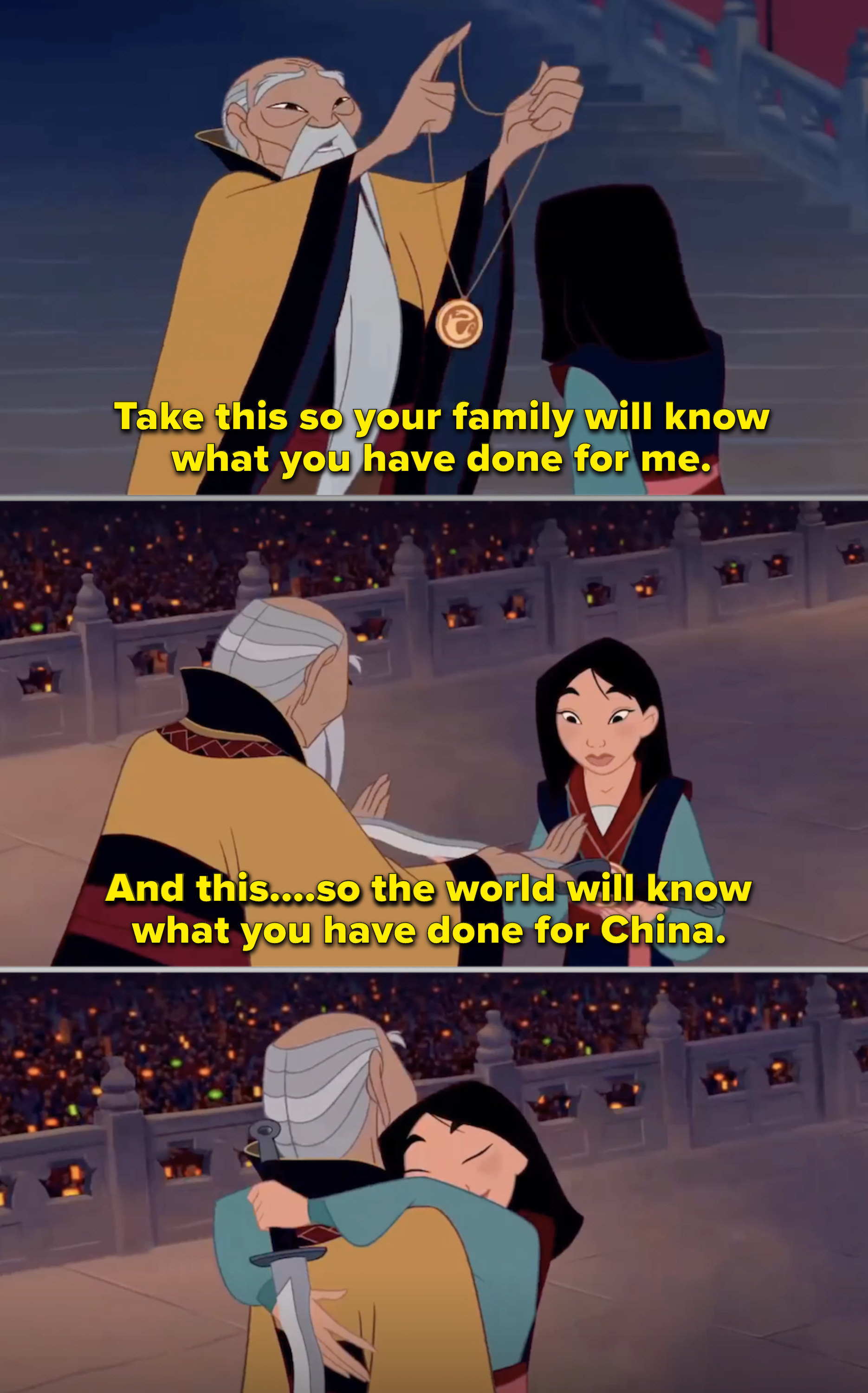 The Emperor bowing for Mulan