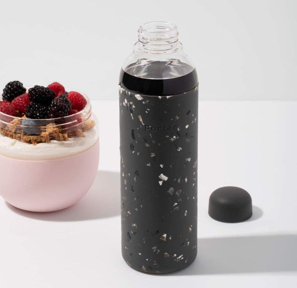 the black confetti water bottle