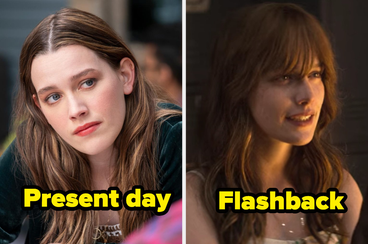 Present-day Love with wavy hair and a middle part and flashback Love with the same wavy hair but with bangs.