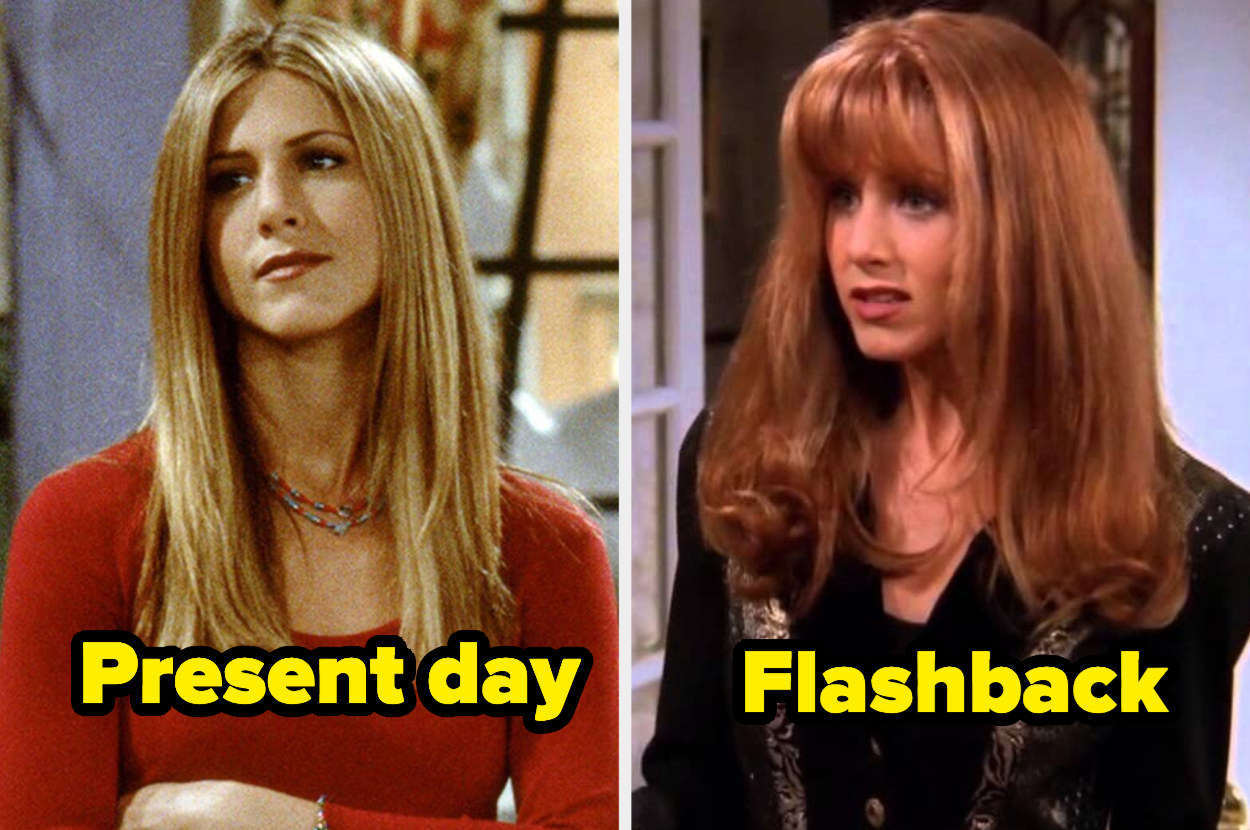 Present-day Rachel with straightened hair and flashback Rachel with teased bangs.