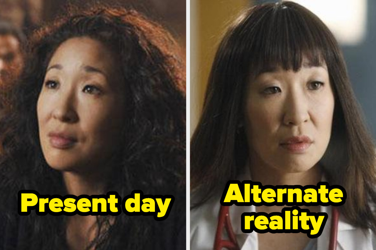 Present-day Cristina with super curly hair and alternate reality Cristina with swoopy straight hair and bad, blunt bangs.