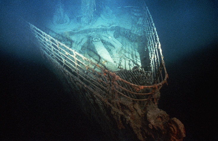 The wreck of the Titanic sitting on the ocean floor