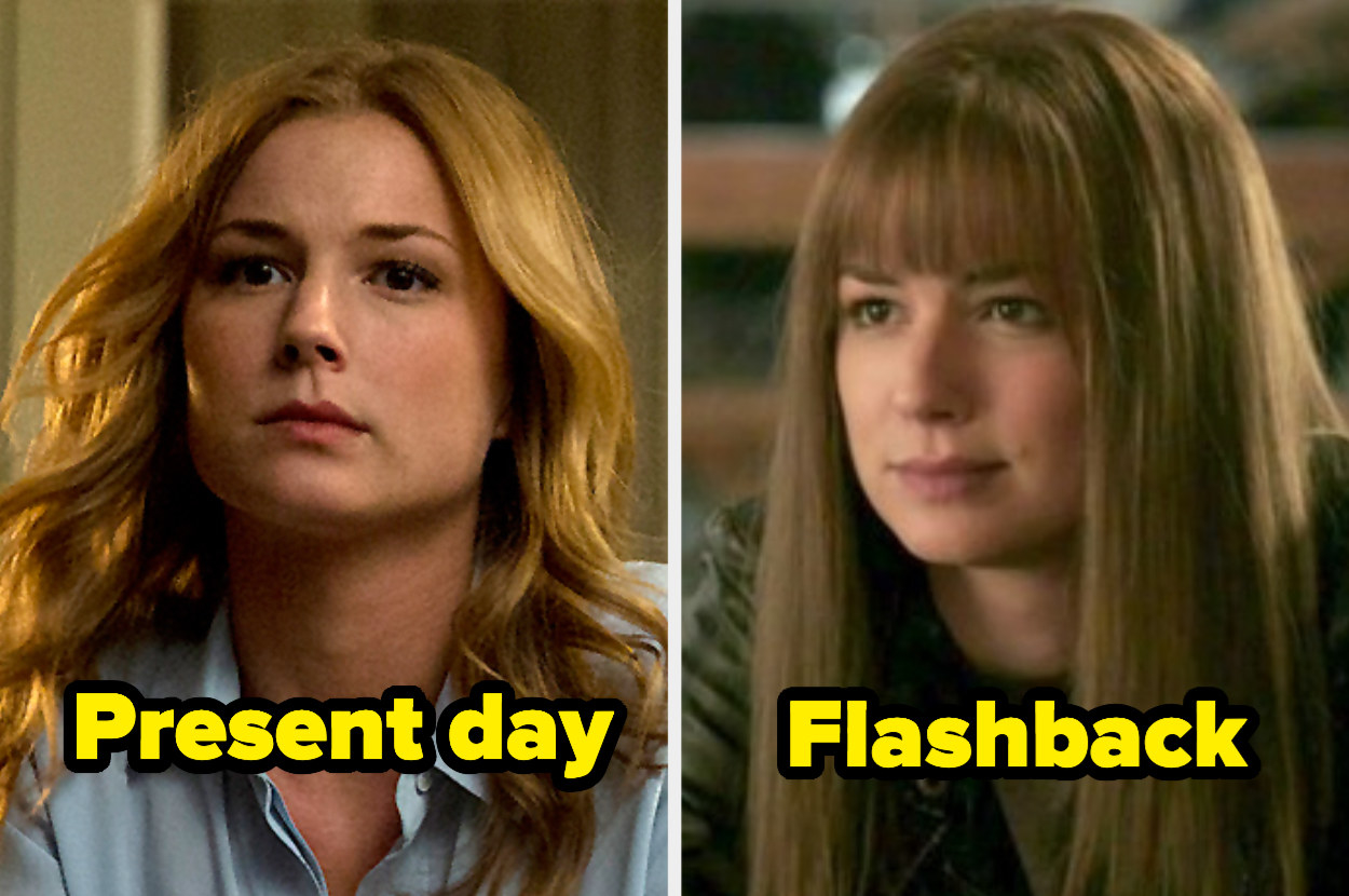 Present-day Emily with a middle part and waves next to flashback Emily with extremely straight hair and blunt bangs.