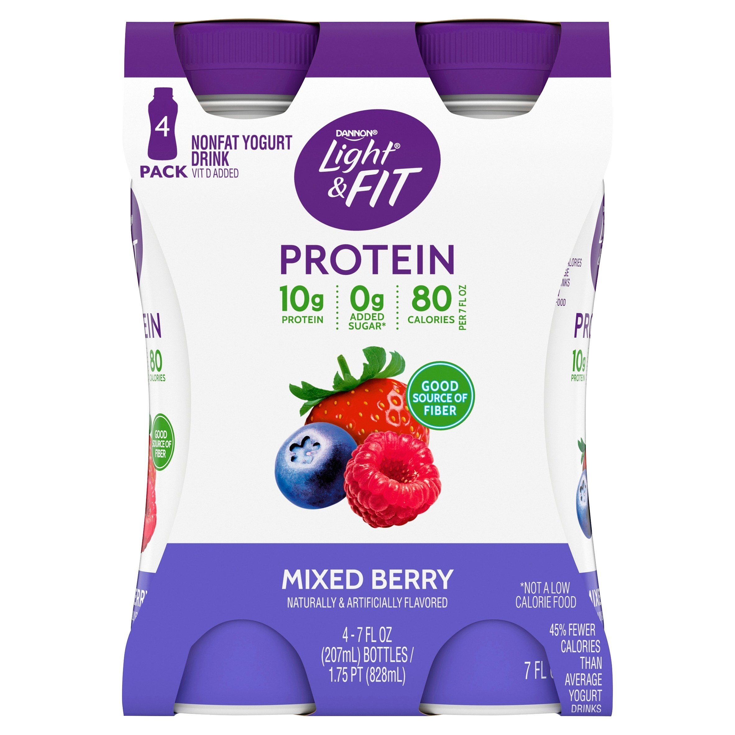 4 pack of Dannon Light & Fit mixed berry yogurt drink