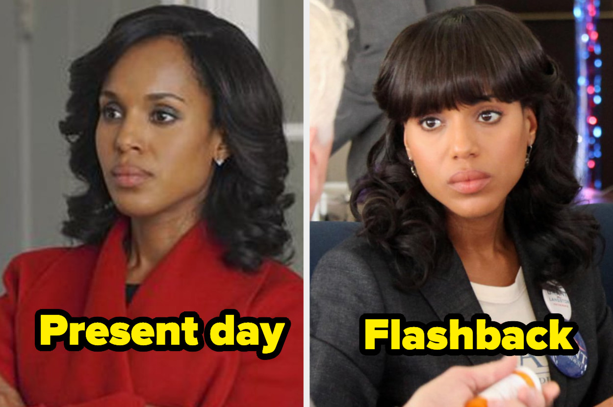 Present-day Olivia Pope with relaxed hair with curls and a side part next to flashback Olivia with relaxed hair and thick bangs.