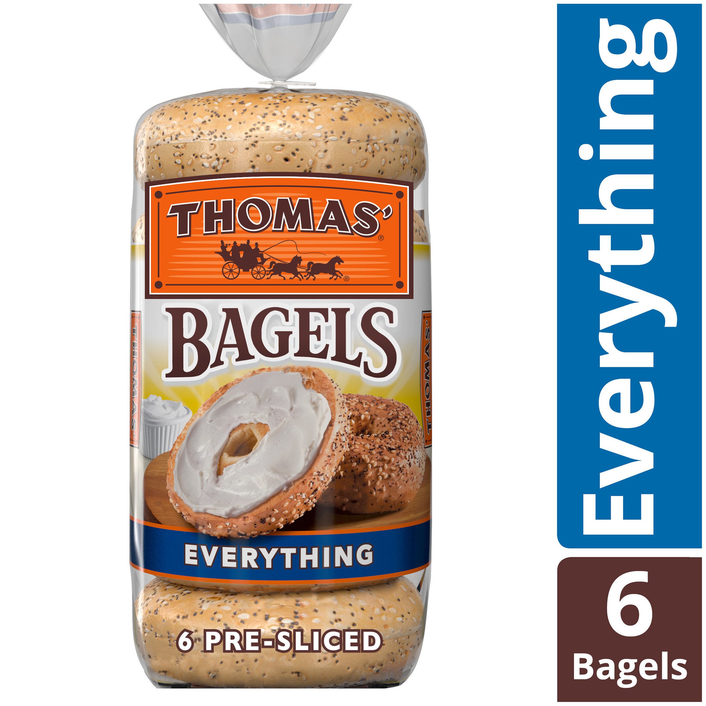 6 pack of pre-sliced Thomas everything bagels